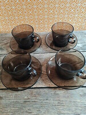 £20 • Buy 1970's Vintage French 'Vereco' Smoked Glass Coffee Cups & Saucers X 4 Set