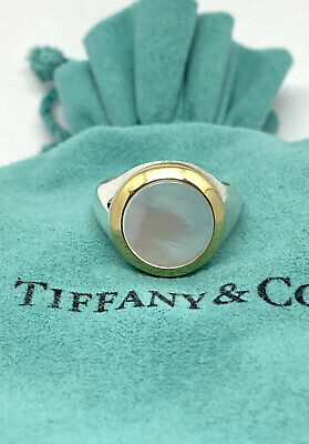 £181.86 • Buy Tiffany & Co Silver RARE Mother Of Pearl 1999 Ring Size 5.5