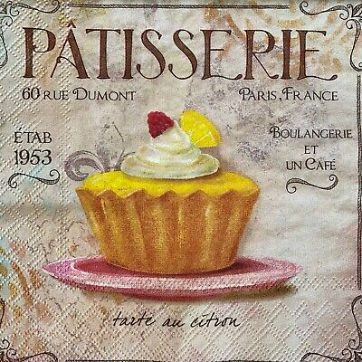 £1.30 • Buy 4 X Single Paper Napkins - Decoupage - Craft - French Patisserie Cake B212