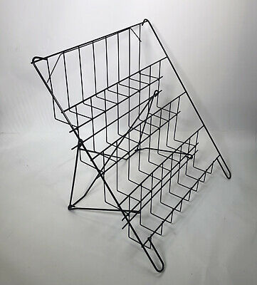 £27.45 • Buy Greetings Card Display Stand Black 4Tier Wire Book Magazine Counter Shop Display