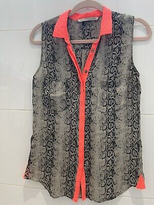 £9 • Buy Customade Snake Skin Sleeveless Blouse With Neon Coral Colar Detail