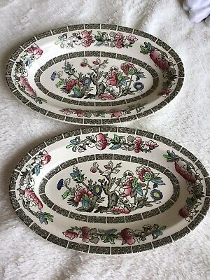 £4.50 • Buy TWO Vintage Johnson Bros Oval Shape  Indian Tree  Plate/Dish's