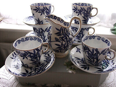 £35 • Buy Victorian 1871 Blue & White Bamboo Patterned With Gold Rimmed Cups Saucers & Jug