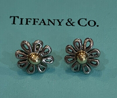 £202.95 • Buy Tiffany & Co Sterling And 18k Gold Daisy Flower Stud Earrings Nice!
