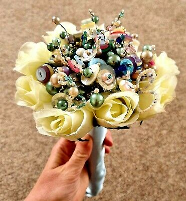 £45 • Buy Handmade Button And Bead Bridal Bouquet