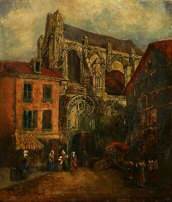 £37 • Buy View Of A French Town | Old 19th Century Oil On Panel Antique Painting