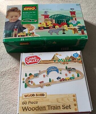 £10 • Buy BRIO 33053 Wooden Zoo Set & Chad Valley Wooden Train Set (New In Box