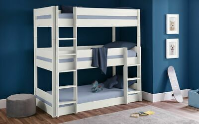 £539.99 • Buy Trio Bunk Bed Frame In Surf White Solid Pine 3ft Single 2 Man Delivery