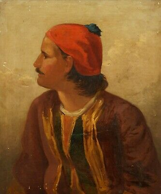 £54.75 • Buy Man With A Red Cap | Large 19th Century Portrait, Oil On Canvas Antique Painting