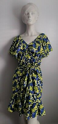 £16.99 • Buy ASOS Blue Yellow Floral Print Frill  Can Sleeve V Neck Dress Size 16 UK