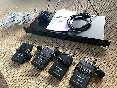 £52.27 • Buy 4-Channel Professional VHF Lapel / Lavalier & Headset Wireless Microphone System