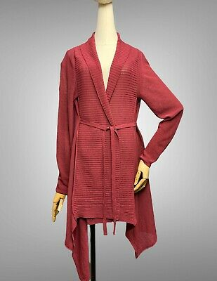 £35.64 • Buy SARAH PACINI Cardigan Sweater One Size Belted Linen Blend Knit Wrap Collared