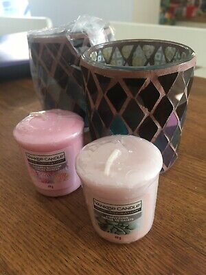 £5.99 • Buy Brand New 2 Yankee Candle Mosaic Glass Votive Tea Light Candle Holder & Candles