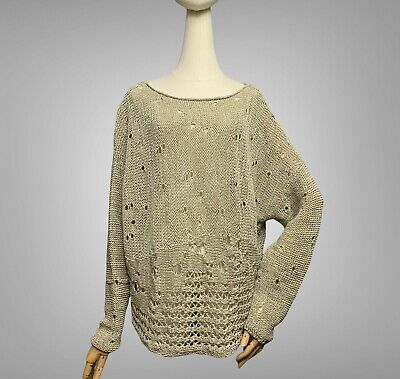 £35.64 • Buy SARAH PACINI Sweater One Size Oversized Beige Linen Blend Open Knit Pullover