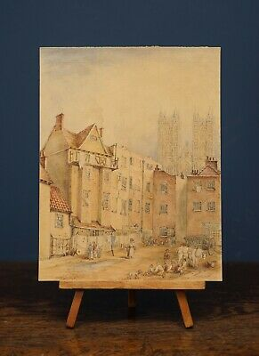 £6.50 • Buy View Of A French Town With A Cathedral | 19 Cent. Antique Watercolour Painting