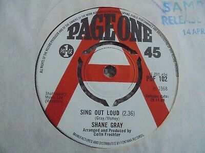 £3.99 • Buy Shane Gray - Sing Out Loud 1968 UK 45 PAGE ONE DEMO FEMALE MOD DANCER