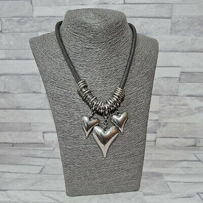 £7.50 • Buy STATEMENT Necklace Silvertone Chunky Chain Metal Heart Pendant Costume Jewellery
