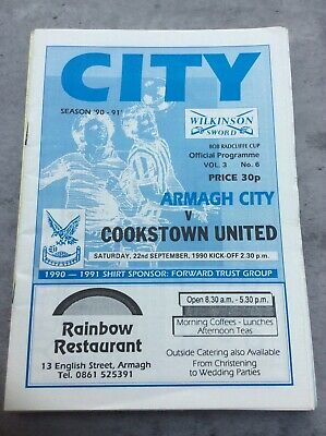 £3.49 • Buy Armagh City V Cookstown United 22nd Sept 1990 Bob Radcliffe Cup