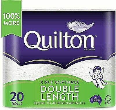 AU28.99 • Buy Toilet Paper 20 Rolls Deluxe Quilton 3 Ply Double Length Large Roll Tissue Bulk!