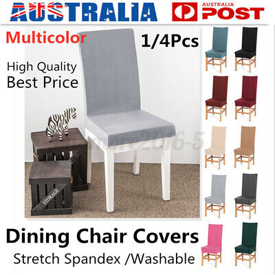 AU14.49 • Buy 1/4/8Pcs Stretch Dining Seat Chair Covers Slipcover Wedding Party Decor Washable