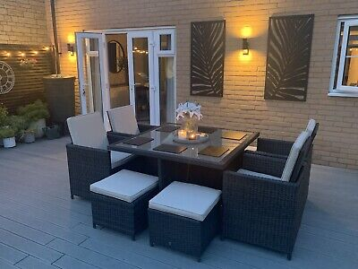£450 • Buy Garden Dining Furniture Rattan Cube Set Table & Chairs Modular 8 Seater