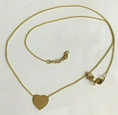 £100 • Buy 375 9ct Gold NEW Woman's Heart Necklace 16 -17  Long FULLY HALLMARKED