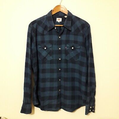 £27.49 • Buy Levi's Mens Shirt Size L Blue Check Long Sleeved Pearl Snap Buttons Navy Worker