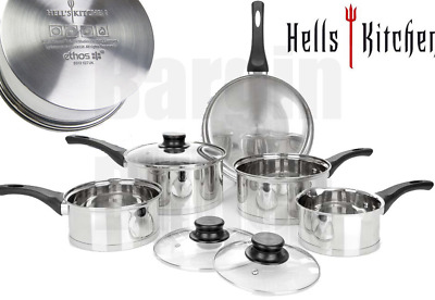 £120 • Buy Hells Kitchen 8 Piece Stainless Steel Pan Set (box Beaten And Taped)