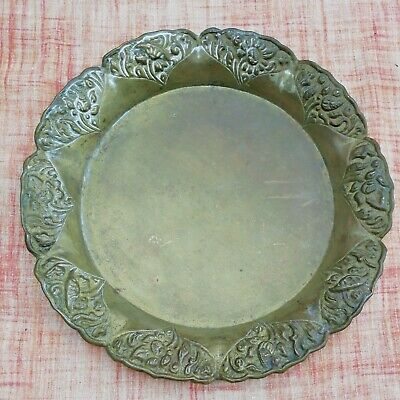 £5 • Buy Small Vintage Embossed Indian Brass Plate Tray Art Crafts Handmade Flowers