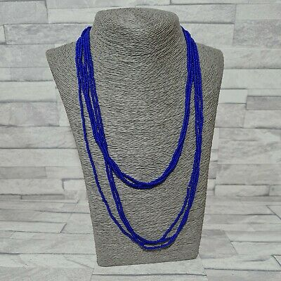 £7.50 • Buy STATEMENT Necklace Long Multi Strand Blue Glass Seed Beads Costume Jewellery