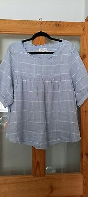 £4 • Buy Pretty Blue Oversized Top With Large Checked Pattern By Apricot- Size S
