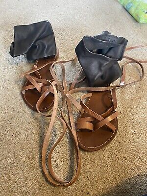 £7.70 • Buy Faith Nuclear Cuff Sandals Tan/chocolate Leather - Gladiator Style Size 6