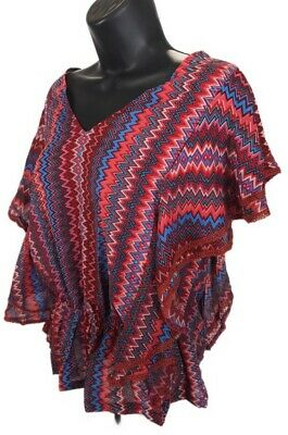 £2.90 • Buy Fashion Fuse V Neck Peasant Top Blouse Womens  L Large Red Zig Zag Short Sleeve