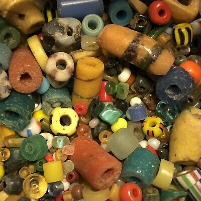 £10.88 • Buy 25 Mixed Ancient & Medieval Glass Bead Artifact Lot Roman Venetian African Old