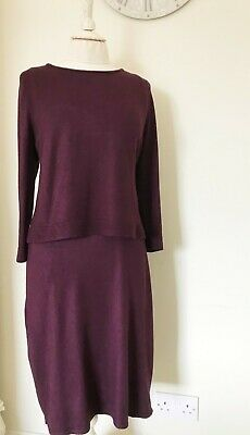 £15 • Buy Phase Eight Knitted Jersey Long Sleeve Dress. Size 16. Plum