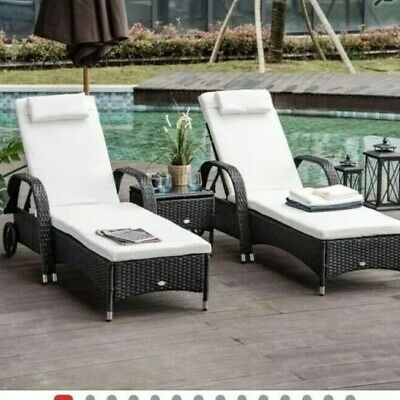 £250 • Buy 2 Garden Patio Set Pair Of Rattan Sun Loungers & Side Table, Cushions Brand New
