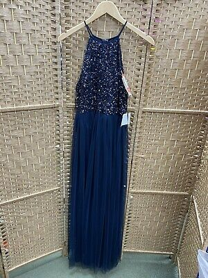 AU28.31 • Buy Maya Deluxe Petite Sequin Navy Party/ Prom/bridesmaid Dress Sleeveless Size 8