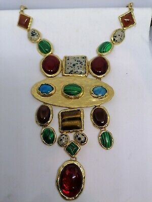 £6.50 • Buy Necklace Gold Tone Various Coloured Stones Costume Jewellery