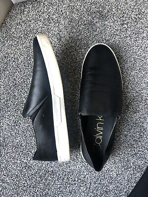 £15 • Buy Calvin Klein Plimsoll Shoes Size 6 Black With White Rubber Sole
