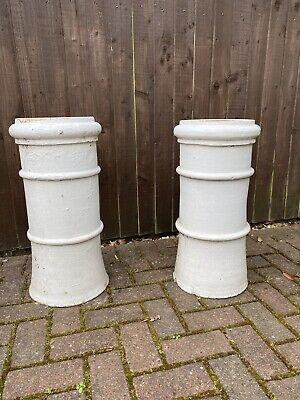 £55 • Buy Two Vintage White Chimney Pots. Architectural Salvage Reclaimed Garden Planters