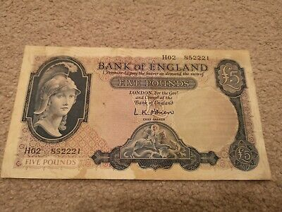 £16 • Buy Old Bank Of England Old Five Pound  Bank Note £5 Lion And Key O'Brien Brittania