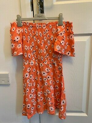 £6.99 • Buy Marks & Spencer M&s Girls Coral Floral Summer Dress Age 6-7 Yrs Rrp £16 Bnwt
