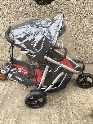 £50 • Buy Phil And Teds 3 Wheel Sport Style Double Buggy Pushchair + Rain Cover Red Black