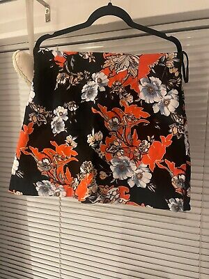 £3.50 • Buy Women's River Island Black And Orange Floral Skirt. Size 12. Excellent Condition