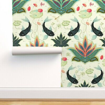 £42.85 • Buy Removable Water-Activated Wallpaper Black Koi Reimagined Damask Green Teal Red