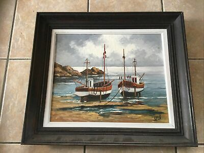 £10 • Buy Oil Painting On Canvas Boats Ships Sea French Artist