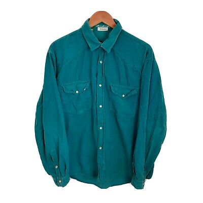 £18 • Buy Benetton Size Large Teal Blue Vintage Pearl Snap Button Corduroy Cord Shirt