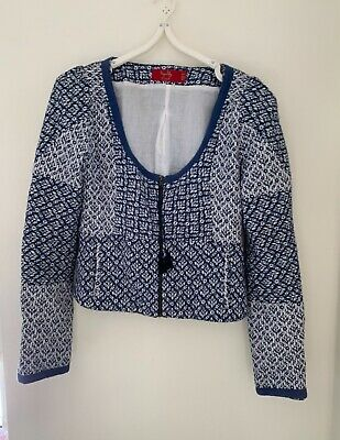AU90 • Buy Tigerlily Blue & White Cotton Lined Jacket Size 10 Preowned