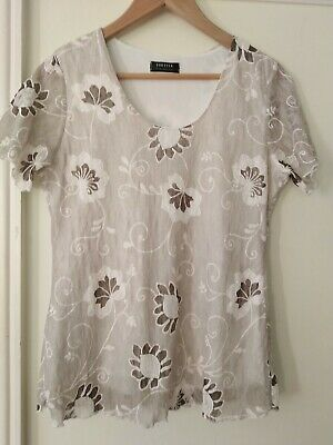 £3.99 • Buy Ladies FOREVER BY Michael Gold Beige / Oatmeal Short Sleeved Top Size 14 / M