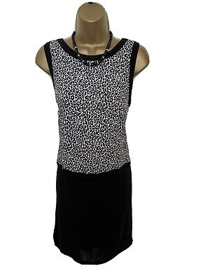 £1.99 • Buy GORGEOUS TRIMMED 2 IN 1 TUNIC DRESS By WAREHOUSE UK 10 VGC BLACK MIX LOOSE FIT